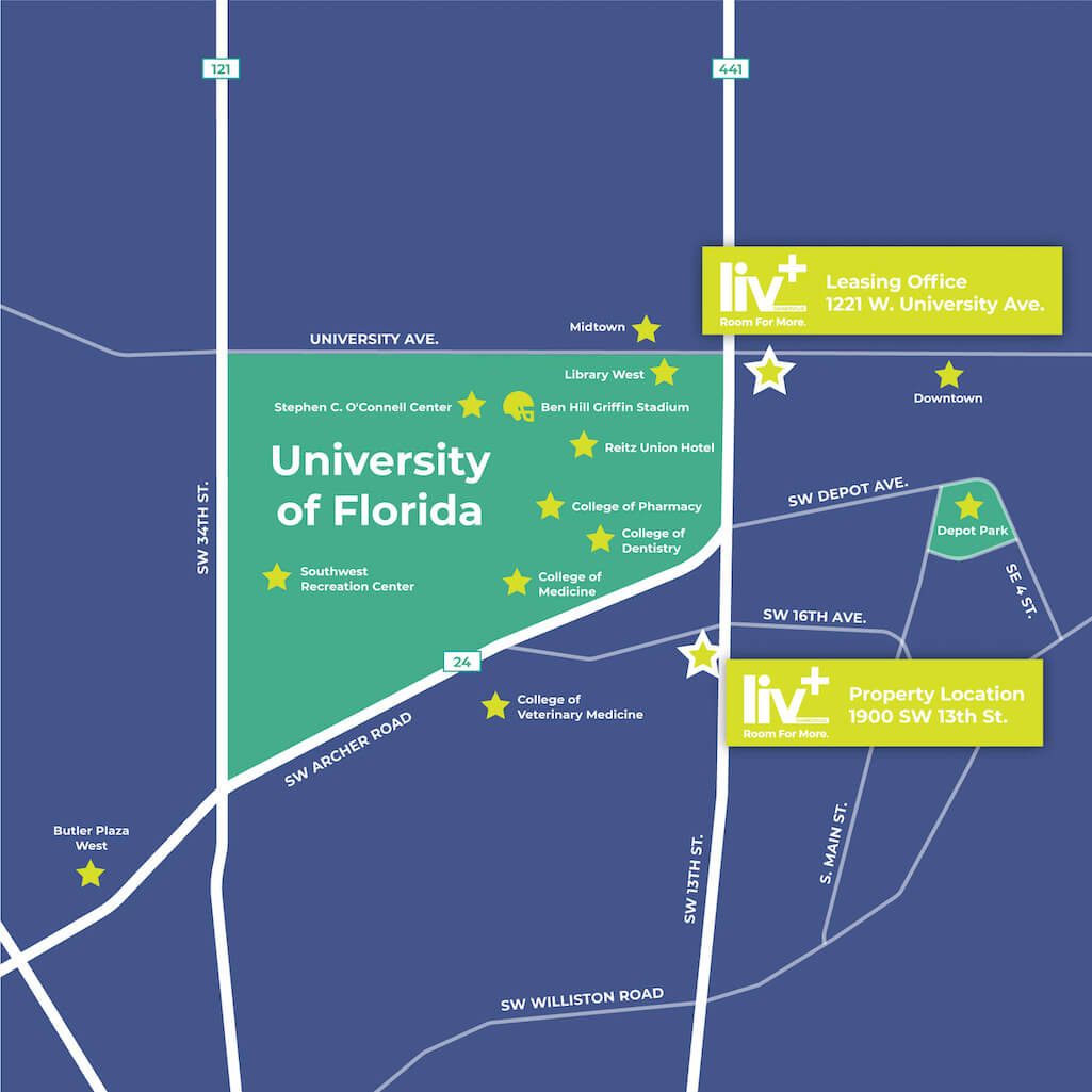 Map of student apartments near the University of Florida