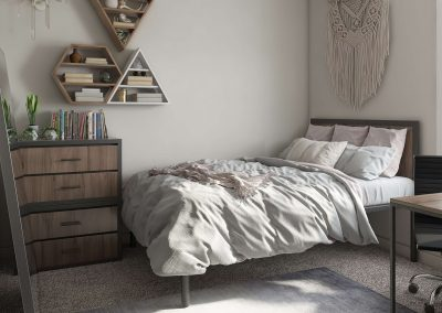 Your bedroom is stylish and comfortable.