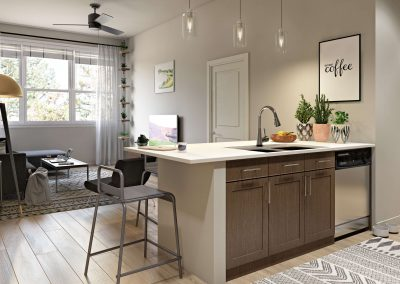 Eat-in kitchens make entertaining friends easy.