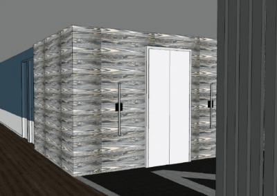 Virtual Image of a Hallway and Elevator at Liv+ Gainesville