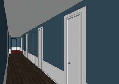 Virtual Image of the Interior Hallway at Liv+ Gainesville