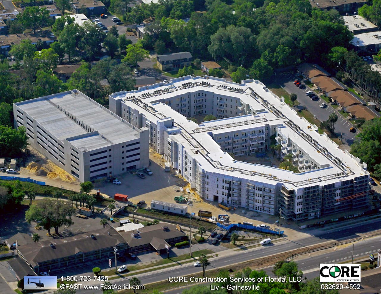 Aerial View of Construction Work at LIV+ Gainesville Apartments