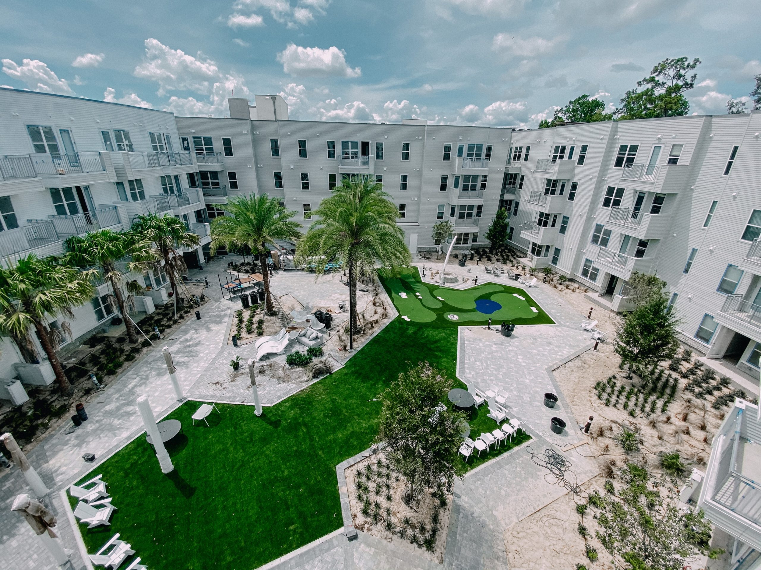 Aerial View of the Courtyard at Liv+ Gainesville Apartments